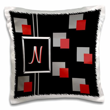 3dRose Modern Geometric Black Red Grey Square Pattern Monogram Letter N - Pillow Case, 16 by 16-inch