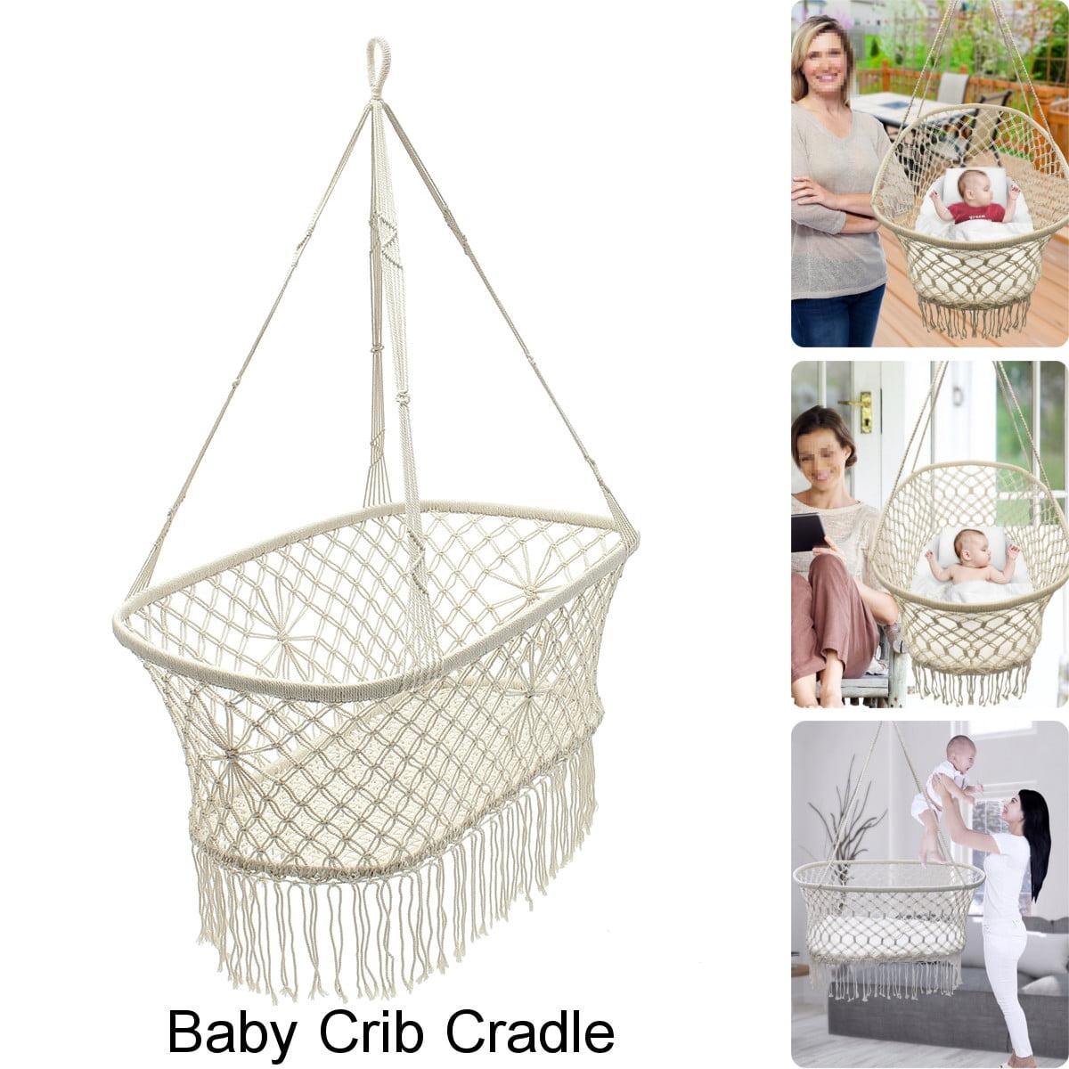 Hanging Rope Macrame Hammock Chair Swing Baby Nursery Bassinet Cradle Bed