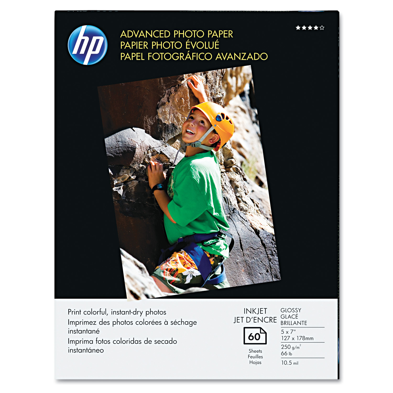HP Advanced Photo Paper, 56 lbs., Glossy, 5 x 7, 60 Sheets/Pack -HEWQ8690A