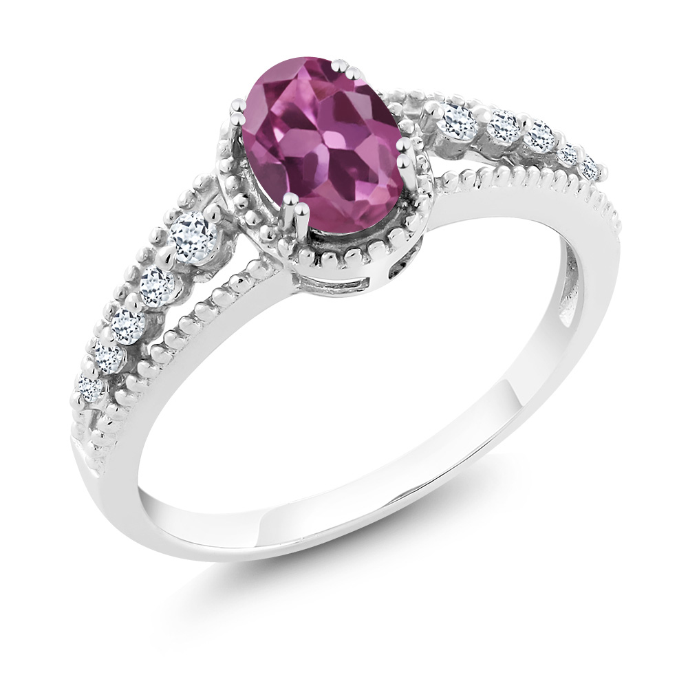 0.91 Ct Oval Pink Tourmaline White Topaz 14K White Gold Ring by
