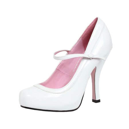 Womens White Mary Jane Shoes Round Toe Heels Patent Platform Pumps 4 Inch Heels for $<!---->