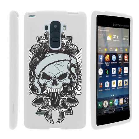 Lg G Stylo  Lg G4 Stylus Ls770  H631  Ms631   Snap Shell  White  2 Piece Snap On Rubberized Hard White Plastic Cell Phone Case With Exclusive Art    Demon Skull