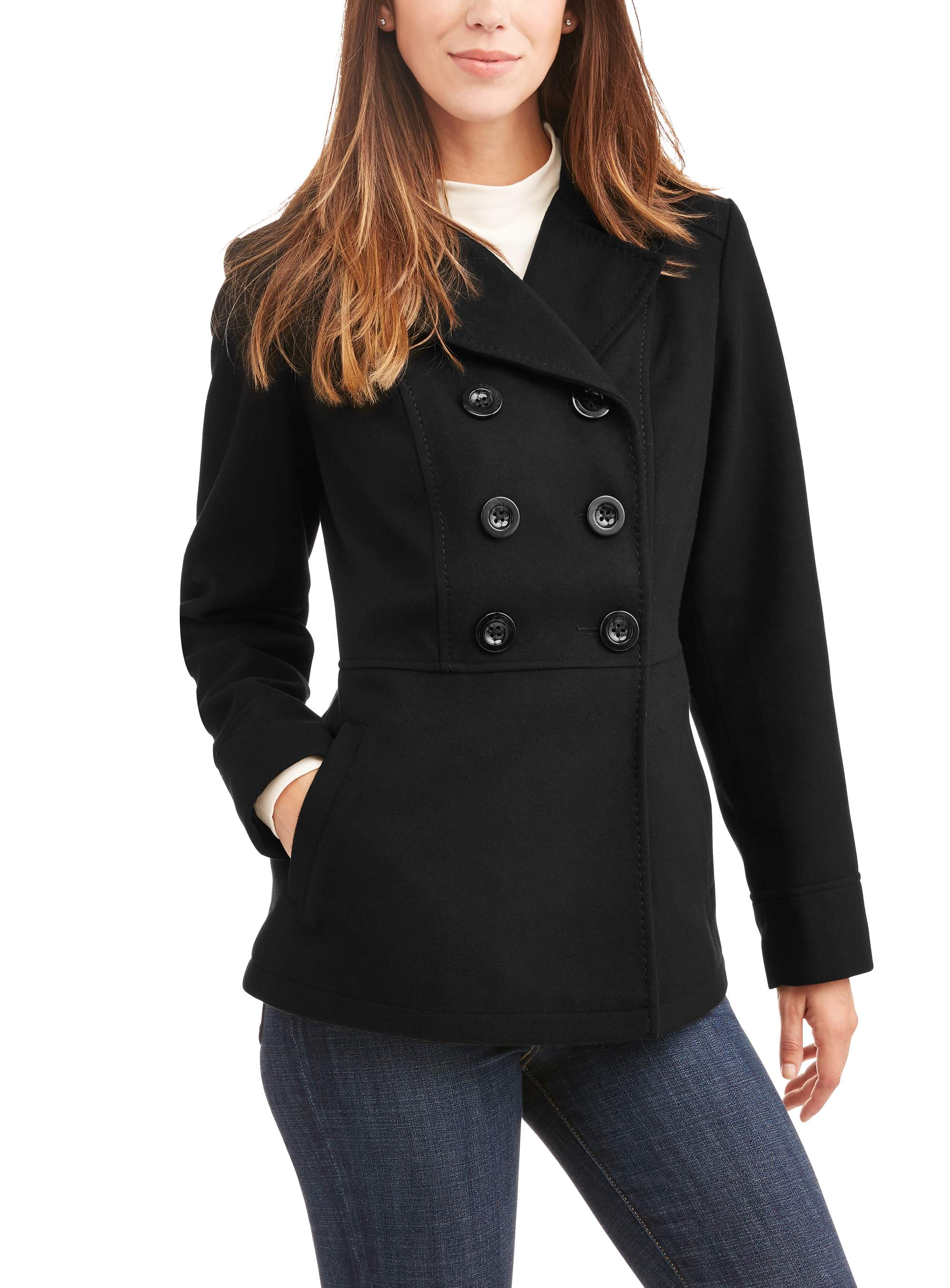 Women's Double-Breasted Faux Wool Peacoat With Hood by Generic
