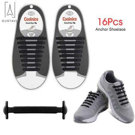 Laces For Less (GustaveDesign No Tie Shoelaces for Kids & Adults The Elastic, Silicone Shoe Laces to Replace Your Shoe Strings. Makes Any Sneaker a Quick, Comfy Slip On)