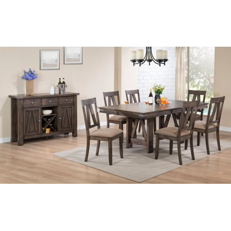 Oslo 8 Piece Dining Set, Brown Wood & Fabric, Transitional, (Extendable Table, 6 Chairs & Buffet Server) ()