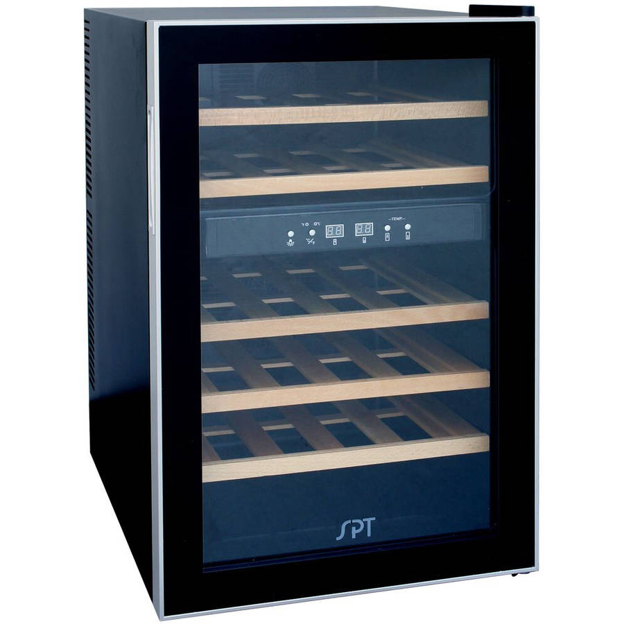 Sunpentown 24-Bottle Dual Zone ThermoElectric Wine Cooler with Heating, Wood