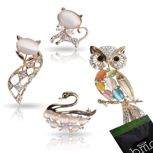 BMC Womens 4pc Clear Crystal Rhinestone Animal Inspired Gold Fashion Brooch Pins