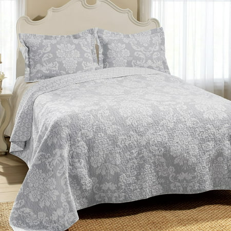 Laura Ashley  Venetia Grey Reversible Cotton 3-piece Quilt