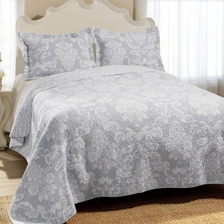 Gray Venetia Quilt Set (King) - Laura Ashley