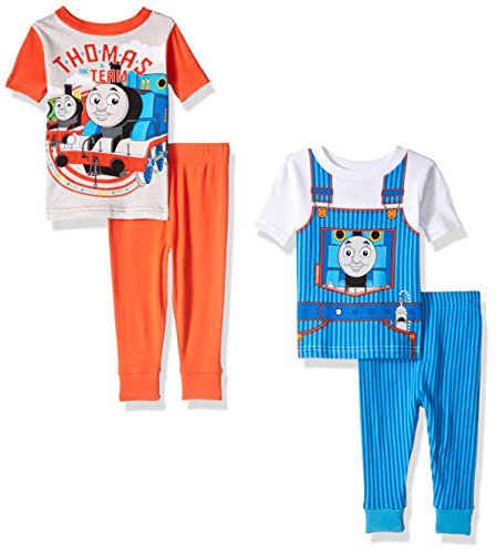 Thomas the Train Boys 4-Piece Cotton Pajama Set, Thomas Blue, 24M