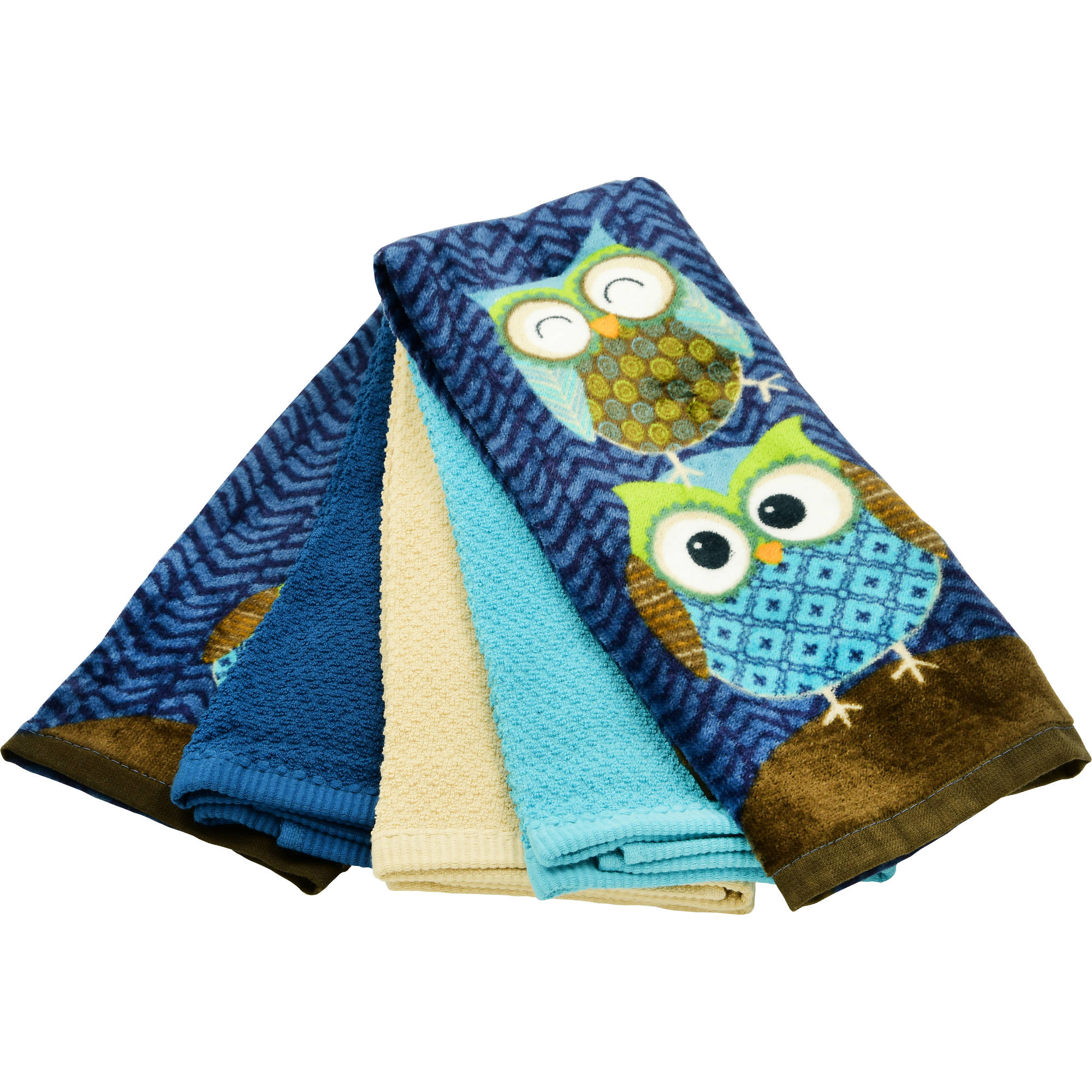 Perfect Mainstays Owls 5pc Kitchen Towel