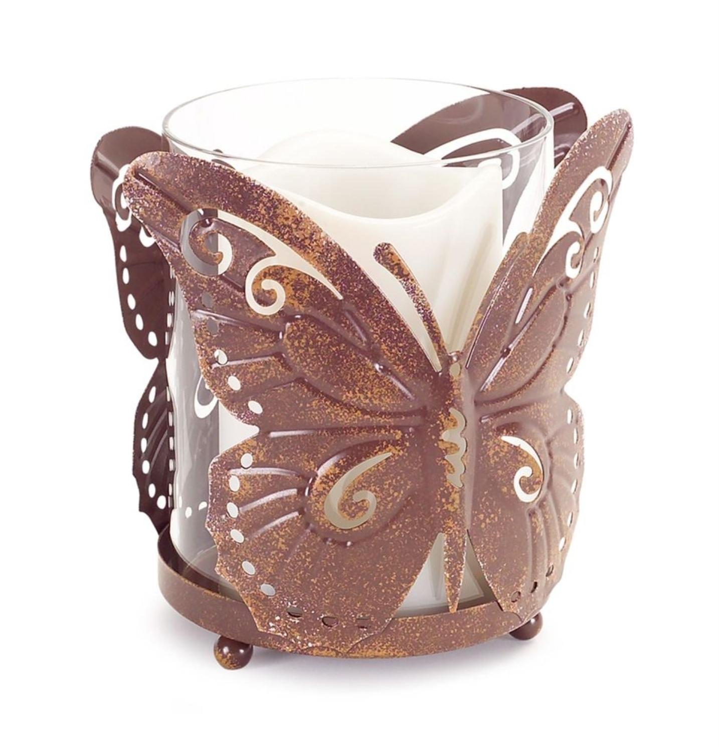 Set of 4 Decorative Footed Weathered Detail Butterfly Candle Holder 5.5""
