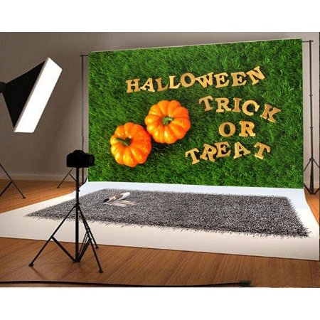 HelloDecor Polyster Halloween Backdrop 7x5ft Photography Background Pumpkins Trick or Treat Grass Land Children Baby Kids Portraits Photos Video Studio Props