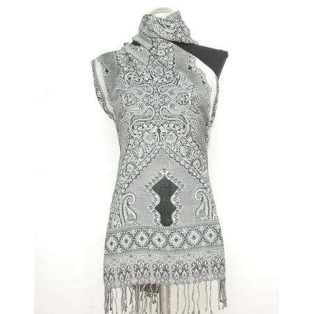 (Women Paisley Brocade Black White Large Pashmina Shawl Scarf w/ Tassels)
