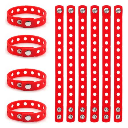 GOGO 10 PCS Kids' Rubber Bracelet, Adjustable Wristband Fit Shoe Jibbitz Crocs (Orange Coral Bracelet)