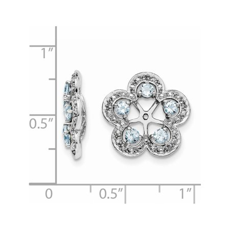 925 Sterling Silver Rhodium Diam. & Aquamarine Jacket (15x16mm) Earrings - image 1 of 2