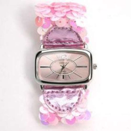 Geneva Sequin Band Fashion Watch - Pink Sequins