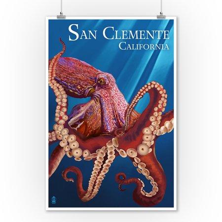 San Clemente, California - Red Octopus - Lantern Press Poster (9x12 Art Print, Wall Decor Travel Poster) ()