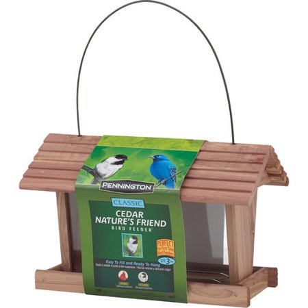 Pennington Classic Cedar Nature's Friend Wild Bird Feeder, 3 lbs Seed (Sunflower Edible Bird Feeder)