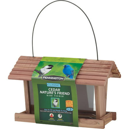 - Pennington Classic Cedar Nature's Friend Wild Bird Feeder, 3 lbs Seed Capacity
