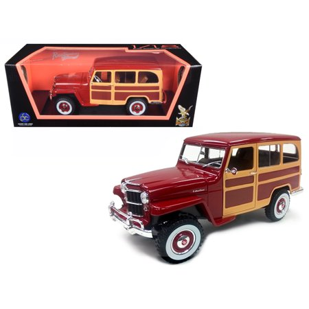 M38 Willys Jeep (1955 Willys Jeep Station Wagon Burgundy 1/18 Diecast Model Car by Road Signature )
