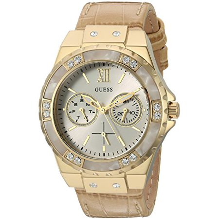 (GUESS Women's U0775L2 Sporty Gold-Tone Stainless Steel Watch with Multi-function Dial and Tan Strap Buckle)