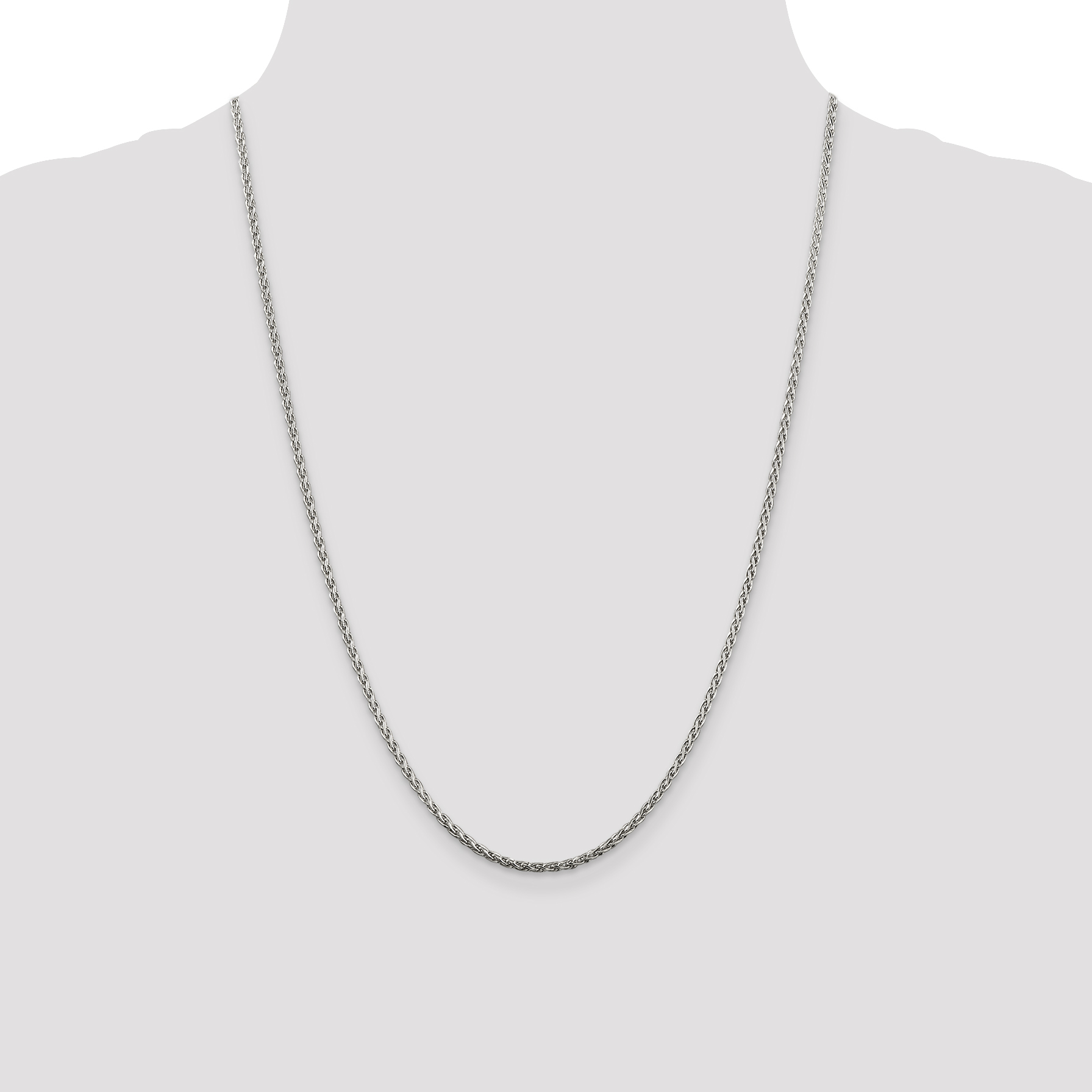 925 Sterling Silver 2mm Spiga Chain Necklace 24 Inch Pendant Charm Wheat Fine Jewelry Gifts For Women For Her - image 2 of 5