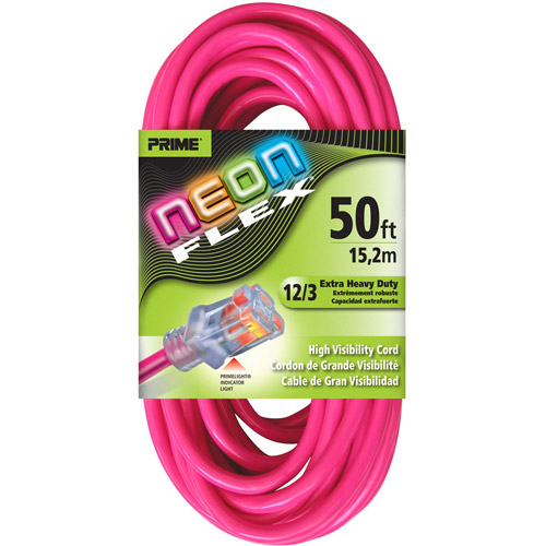 Prime Wire 50-Foot Neon Flex High Visibility Extension Cord With Indicator Light, Neon Pink