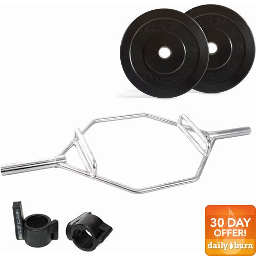 CAP Barbell 70 lb Bumper Plate Set with Zinc Plate Hex Bar and Muscle Clamp