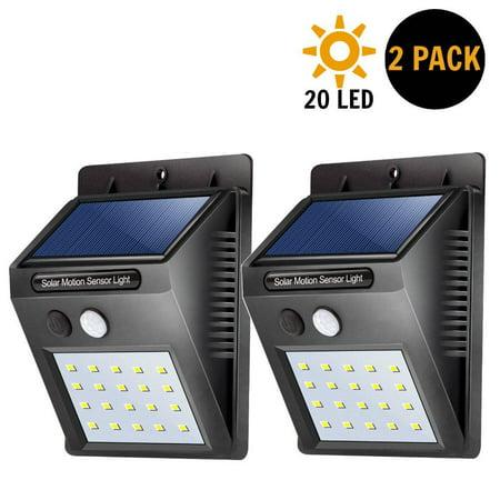 CBD Outdoor Solar Lights Motion Sensor Wall Light Waterproof Garden Yard Lamp 20 LED 2PCS