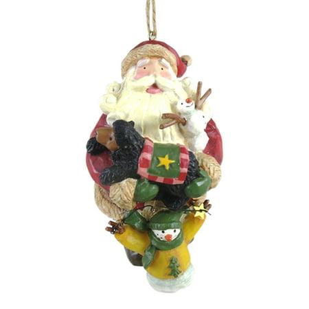 Santa and Woodland Animal Friends Holiday Christmas Ornament