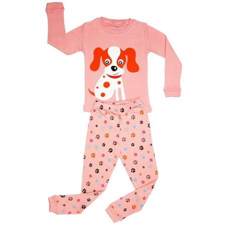 Elowel Little Girls Pink Dog Print Long Sleeved Cotton 2 Pc Pajama Set