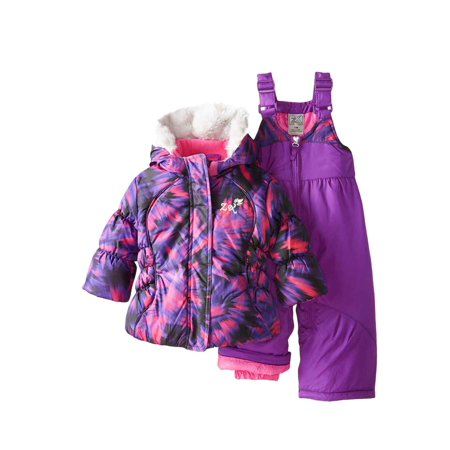 ZeroExposur  Infant Girls 2 PC Purple Hooded Jacket & Snow Bibs Snowsuit 12m