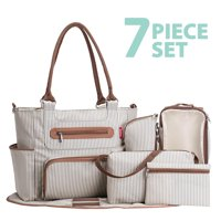 SoHo Tote Diaper Bag, Grand Central Station, Stripe, 7 Piece Set
