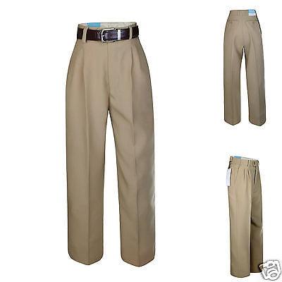 Boy Kid Teen Formal Wedding Party Uniform School Pants Taupe Khaki + Belt