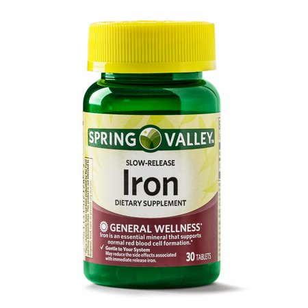 - (3 Pack) Spring Valley Iron Supplement Slow Release Tablets, 45 mg, 30 Ct
