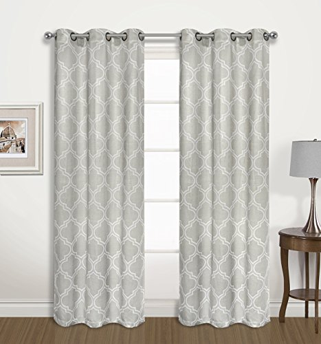 2 Pack: Regal Home Collections Luxurious Trellis Design Blackout Curtain Panels Assorted Colors (Steeple Grey) by Regal Home Collections