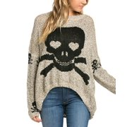 Grey Skull sweater with a Shark Bite Hem