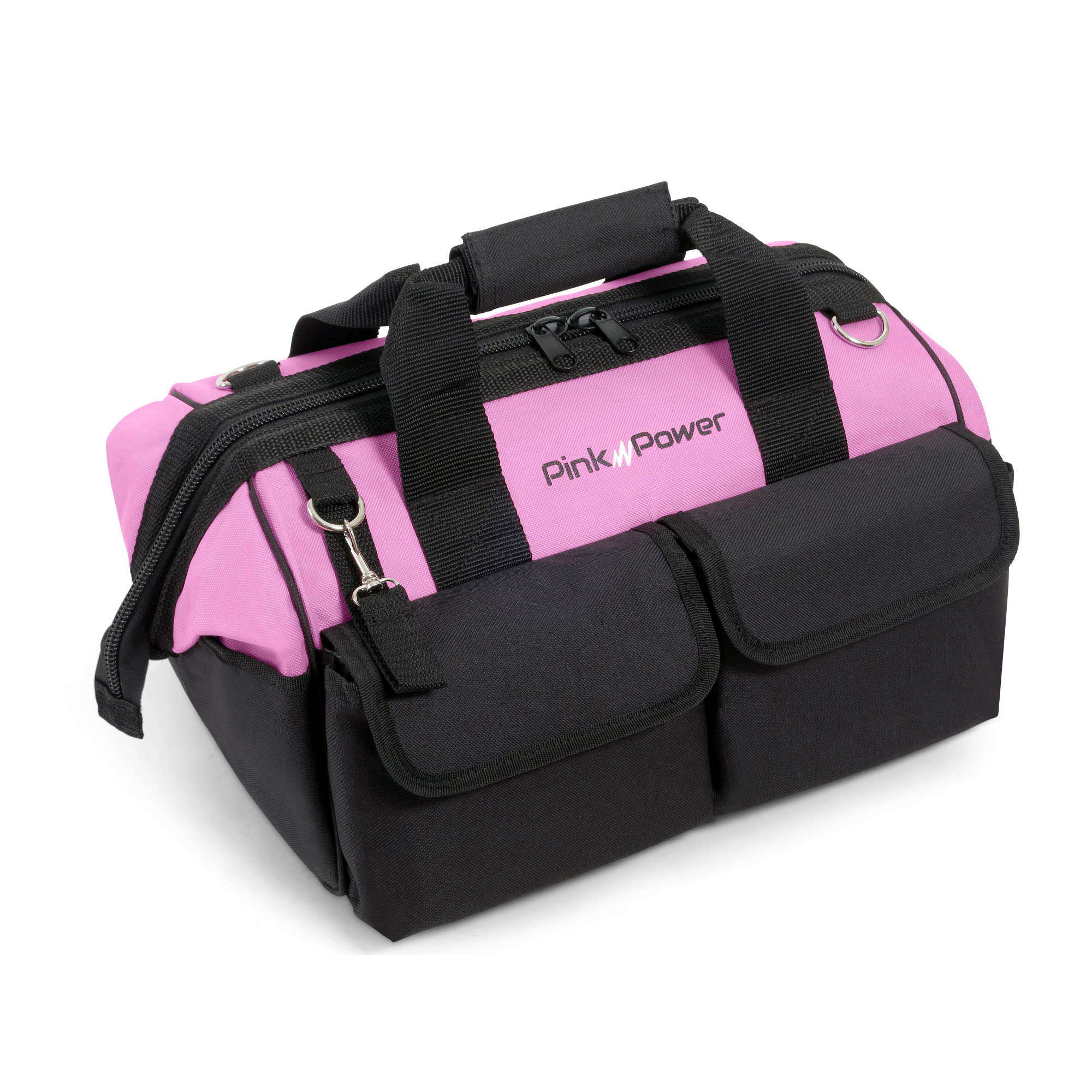 "Pink Power 16"" Nylon Tool Bag for Women with 22 Storage Pockets and Padded Shoulder Strap by Pink Power"
