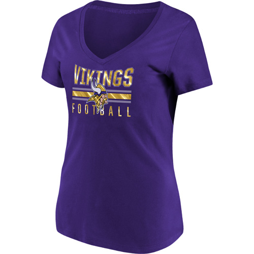 Women's Majestic Purple Minnesota Vikings Game Day Style V-Neck T-Shirt