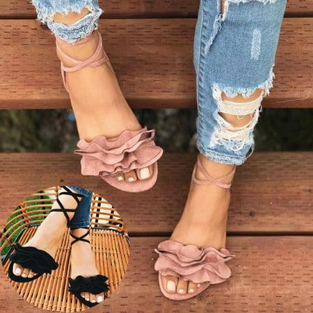 Meigar Women Gladiator Flat Heels Lace Up Sandals Fashion Women Ankle Strap Shoes - Heel Gladiator Sandals