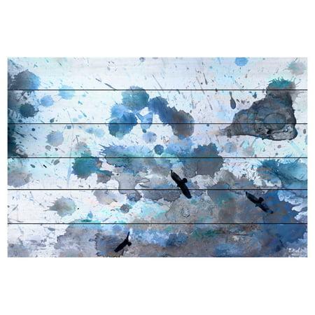 - Parvez Taj Indian Wells Painting Print on White Pine Wood