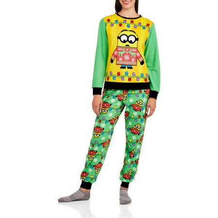 Minion Womens License Pajama Ugly Sweater Fashion 2 Piece Sleepwear Set