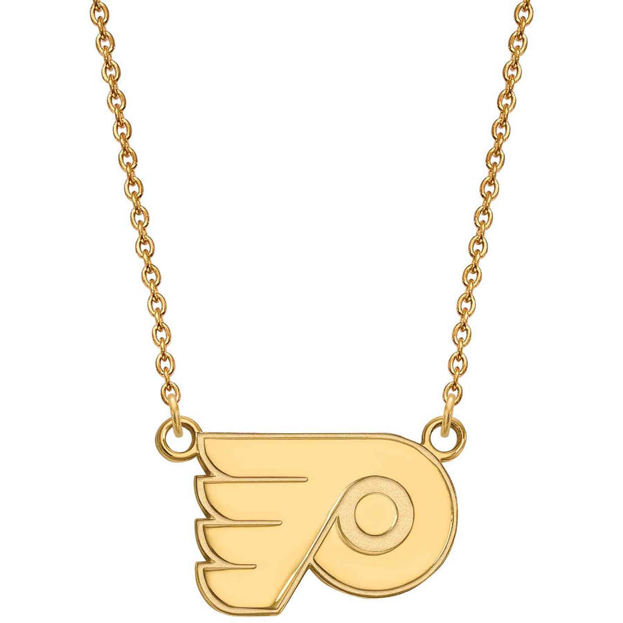 LogoArt NHL Philadelphia Flyers 14kt Gold-Plated Sterling Silver Small Pendant with Necklace
