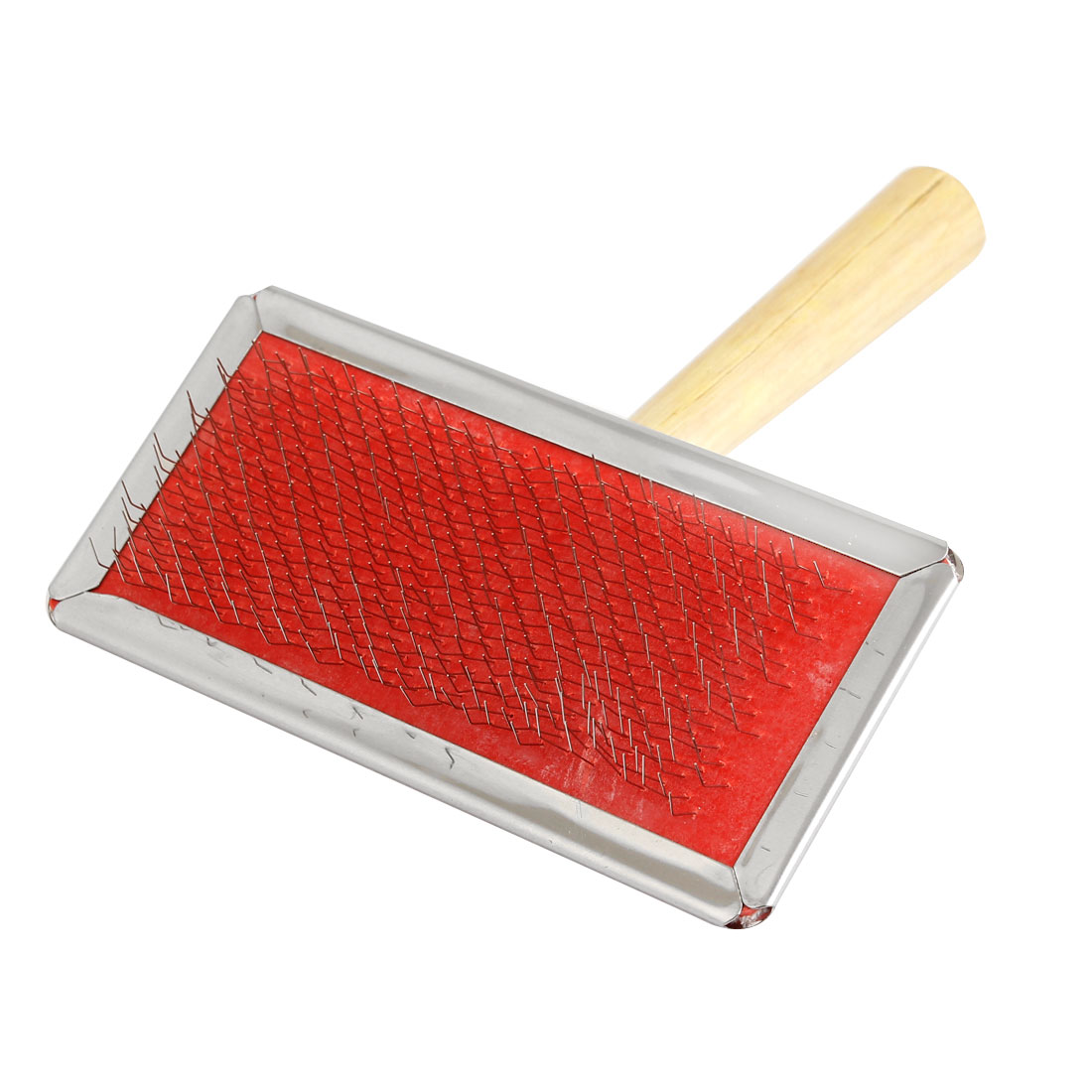 Wooden Grip Dog Cat Pet Fur Grooming Comb Brush Shedding Tool Red Silver Tone