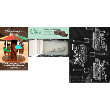 Cybrtrayd 'Train Engine Lolly Kids' Chocolate Candy Mold with Chocolatier's Bundle of 25 Lollipop Sticks, 25 Cello Bags, 25 Silver Twist Ties and Instructions