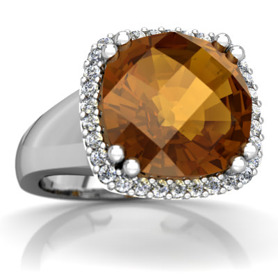 Citrine Halo Cocktail Ring in 14K White Gold by