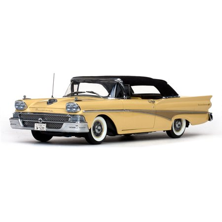1958 Ford Fairlane 500 Closed Convertible Sun Gold / Black 1/18 Diecast Car Model by