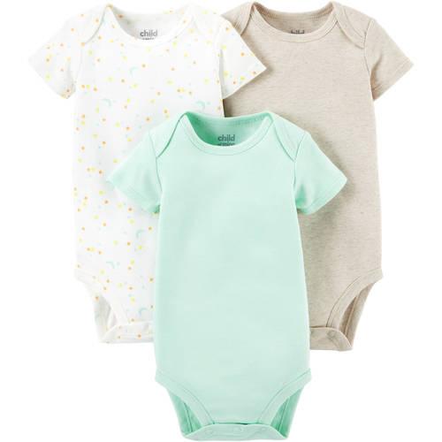Child Of Mine by Carter's Newborn Baby Short Sleeve Bodysuits, 3 - Pack