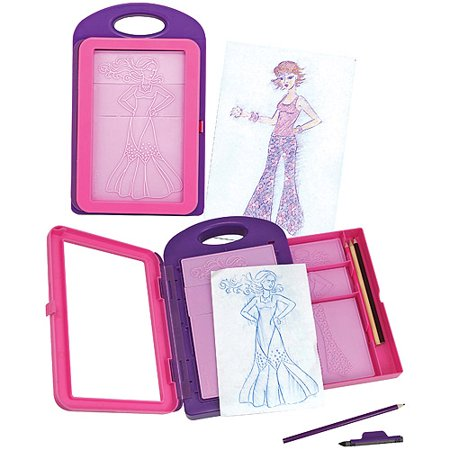Melissa & Doug Fashion Design Art Activity Kit - 9 Double-Sided Rubbing Plates, 4 Pencils, Crayon
